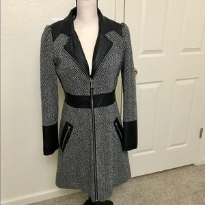Guess Wool Blend and Faux Leather Jacket